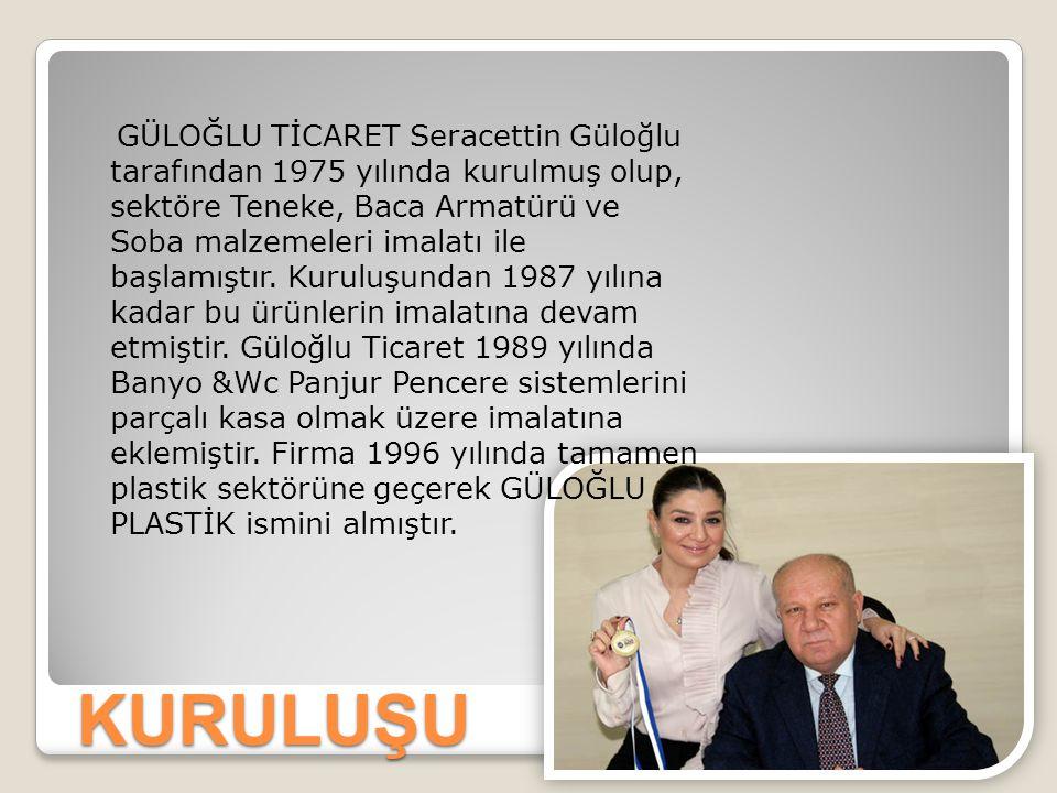 GÜLOĞLU TİCARET Seracettin Güloğlu tarafından 1975 yılında kurulmuş olup, sektöre Teneke, Baca Armatürü ve Soba malzemeleri imalatı ile başlamıştır. Kuruluşundan 1987 yılına kadar bu ürünlerin imalatına devam etmiştir. Güloğlu Ticaret 1989 yılında Banyo &Wc Panjur Pencere sistemlerini parçalı kasa olmak üzere imalatına eklemiştir. Firma 1996 yılında tamamen plastik sektörüne geçerek GÜLOĞLU PLASTİK ismini almıştır.