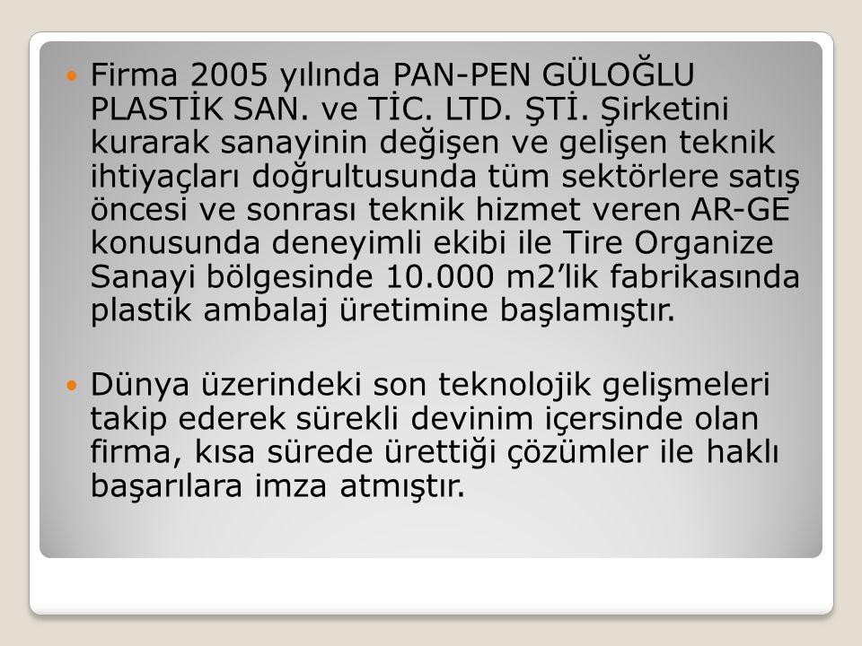 Firma 2005 yılında PAN-PEN GÜLOĞLU PLASTİK SAN. ve TİC. LTD. ŞTİ