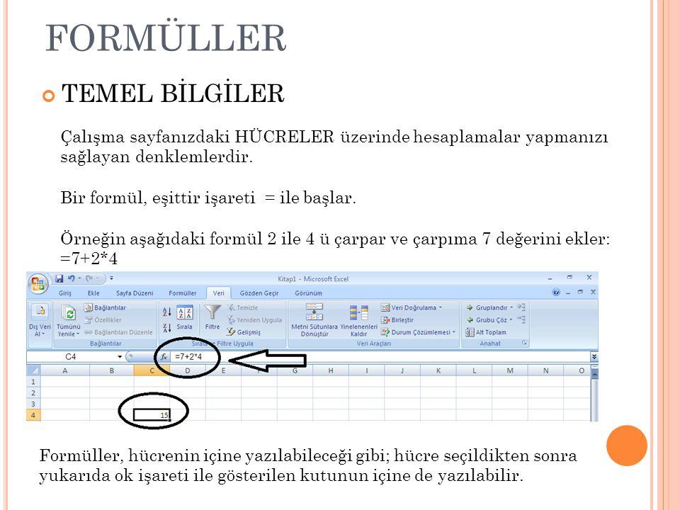formüller TEMEL BİLGİLER