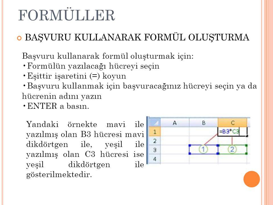 formüller BAŞVURU KULLANARAK FORMÜL OLUŞTURMA