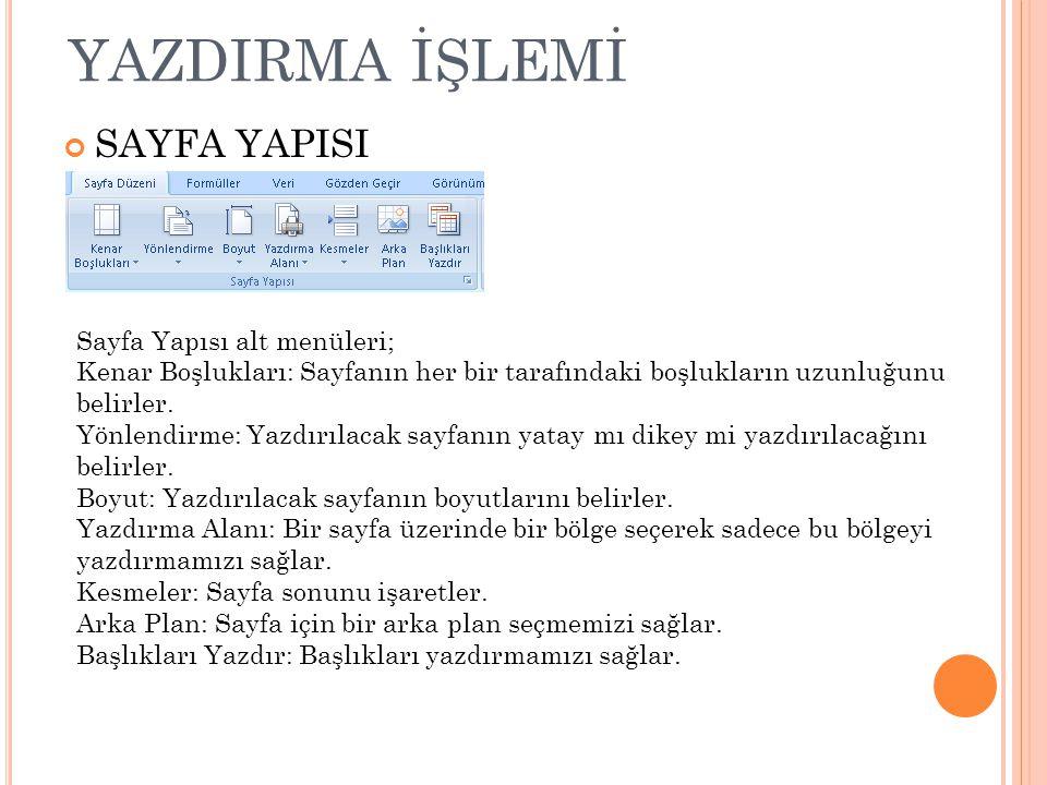 YAZDIRMA İŞLEMİ SAYFA YAPISI Sayfa Yapısı alt menüleri;