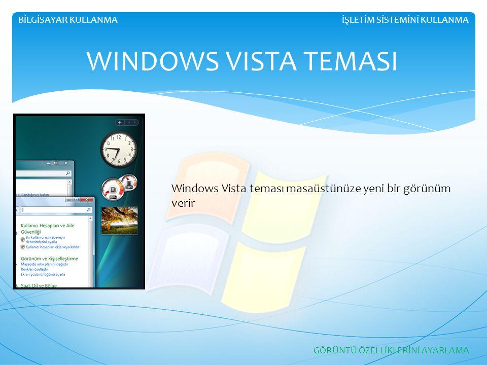 BİLGİSAYAR KULLANMA İŞLETİM SİSTEMİNİ KULLANMA. WINDOWS VISTA TEMASI. Windows Vista teması masaüstünüze yeni bir görünüm verir.