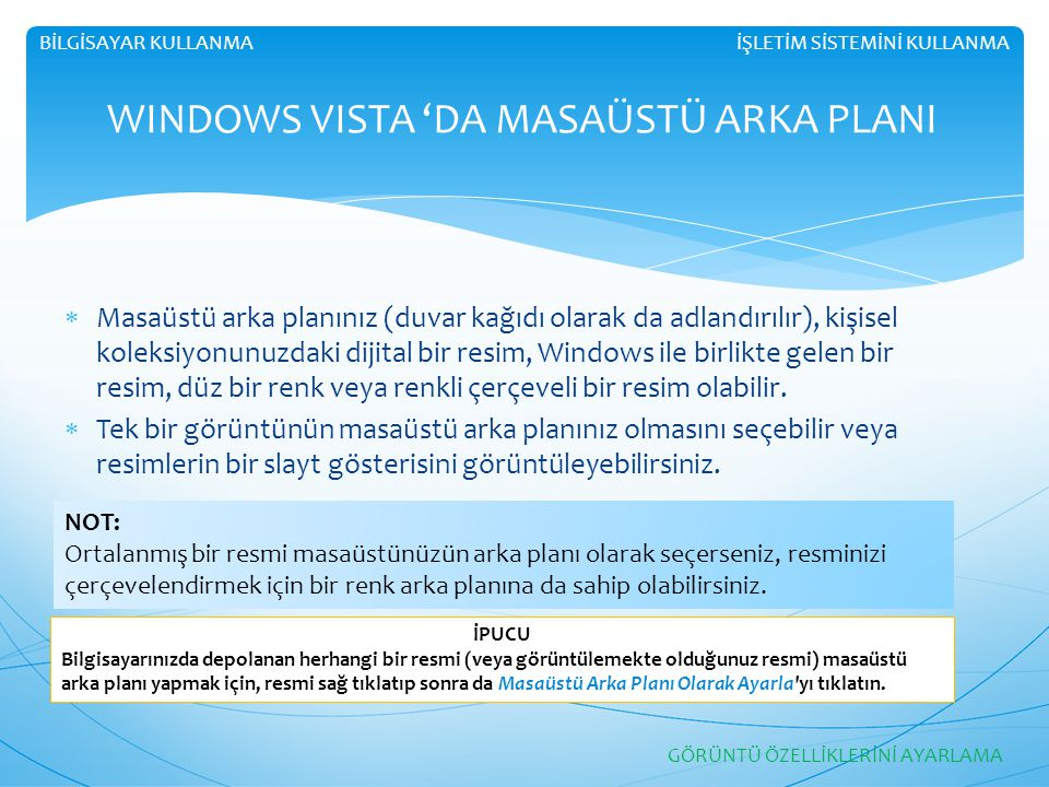 WINDOWS VISTA 'DA MASAÜSTÜ ARKA PLANI