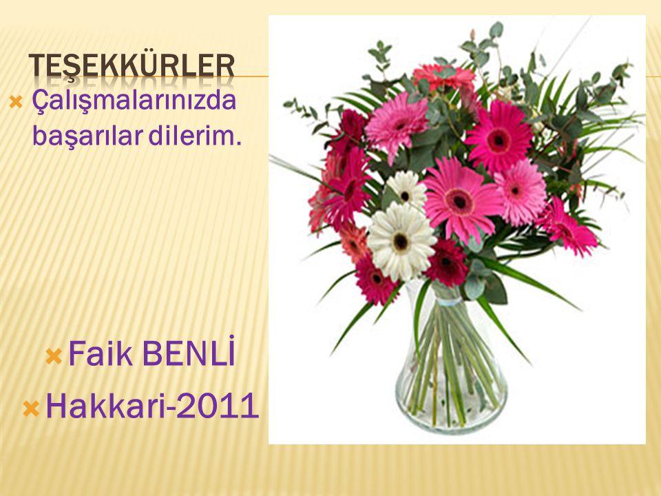 Faik BENLİ Hakkari-2011 TEŞEKKÜRLER