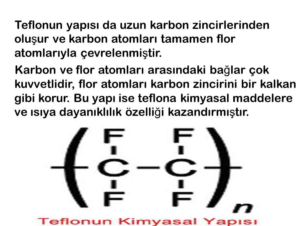 Teflonun yapısı da uzun karbon zincirlerinden oluşur ve karbon atomları tamamen flor atomlarıyla çevrelenmiştir.