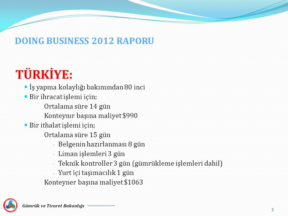 TÜRKİYE: DOING BUSINESS 2012 RAPORU