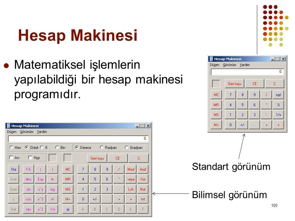 Hesap Makinesi Matematiksel işlemlerin yapılabildiği bir hesap makinesi programıdır. Standart görünüm.