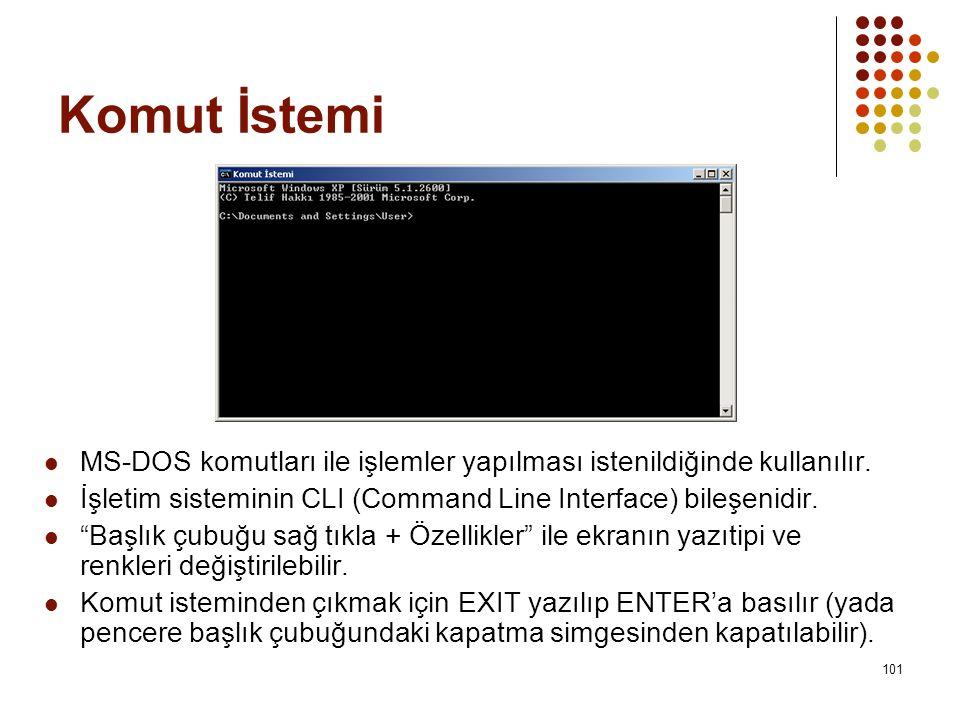 Komut İstemi MS-DOS komutları ile işlemler yapılması istenildiğinde kullanılır. İşletim sisteminin CLI (Command Line Interface) bileşenidir.