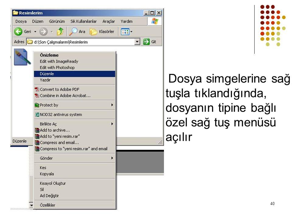 Dosya simgelerine sağ tuşla tıklandığında, dosyanın tipine bağlı özel sağ tuş menüsü açılır
