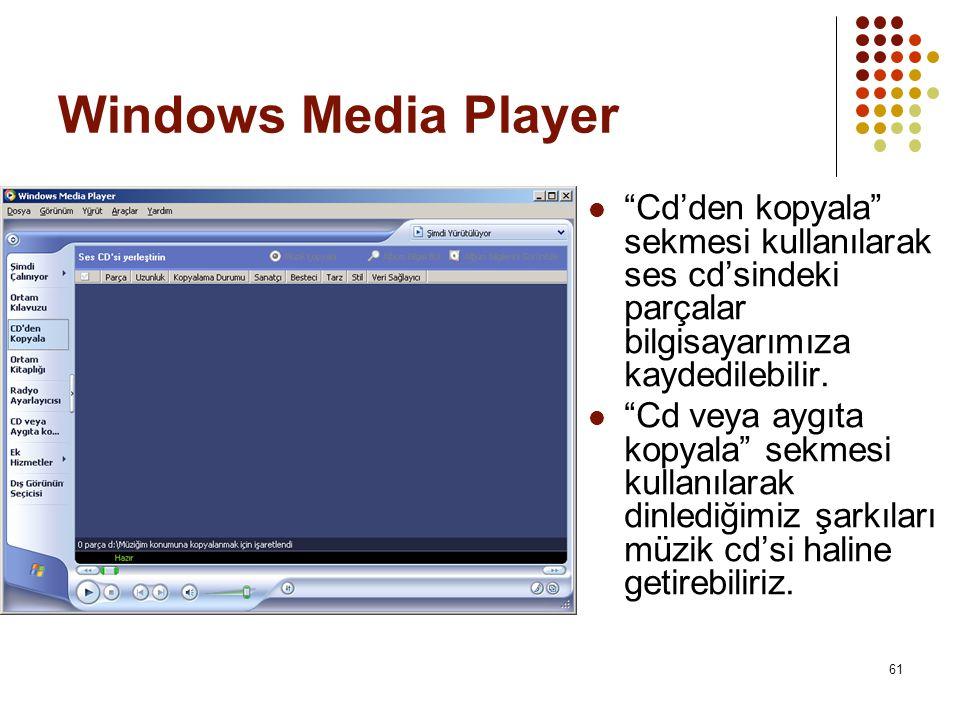 Windows Media Player Cd'den kopyala sekmesi kullanılarak ses cd'sindeki parçalar bilgisayarımıza kaydedilebilir.