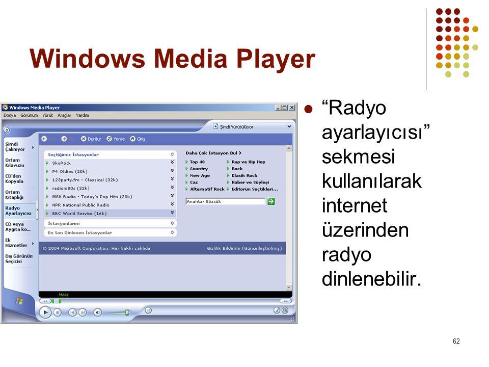 Windows Media Player Radyo ayarlayıcısı sekmesi kullanılarak internet üzerinden radyo dinlenebilir.