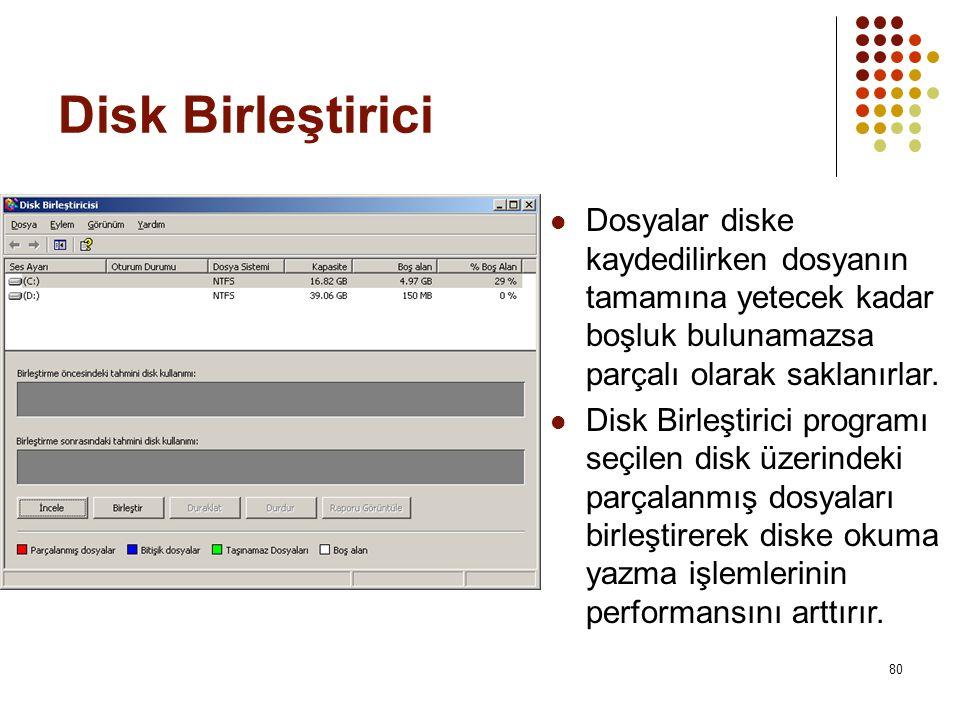 Disk Birleştirici Dosyalar diske kaydedilirken dosyanın tamamına yetecek kadar boşluk bulunamazsa parçalı olarak saklanırlar.
