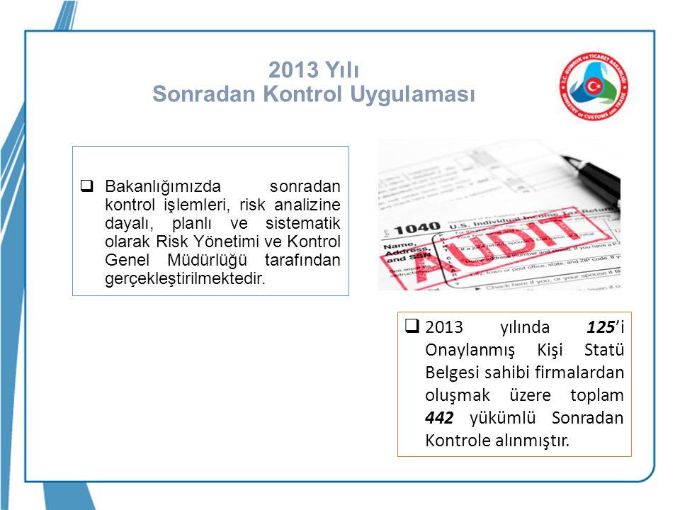 2013 Yılı Sonradan Kontrol Uygulaması