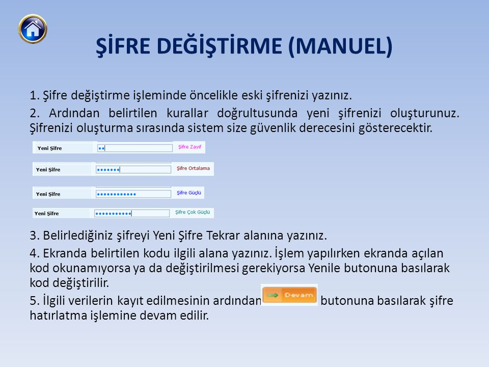 ŞİFRE DEĞİŞTİRME (MANUEL)