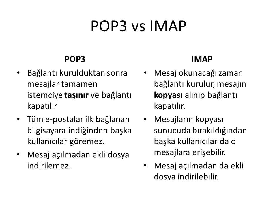 POP3 vs IMAP POP3. IMAP. Bağlantı kurulduktan sonra mesajlar tamamen istemciye taşınır ve bağlantı kapatılır.