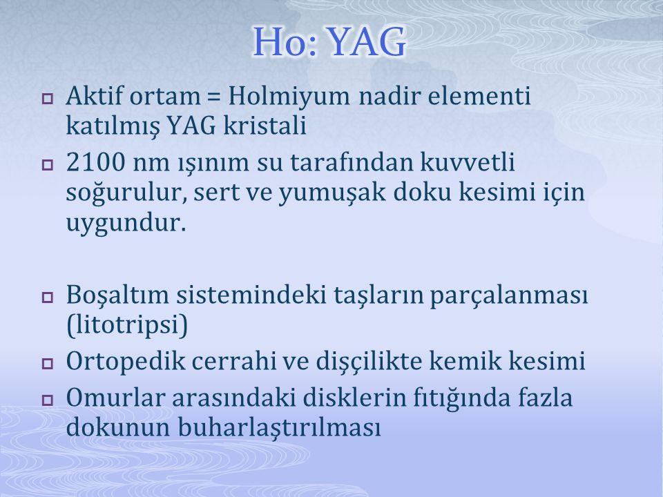 Ho: YAG Aktif ortam = Holmiyum nadir elementi katılmış YAG kristali