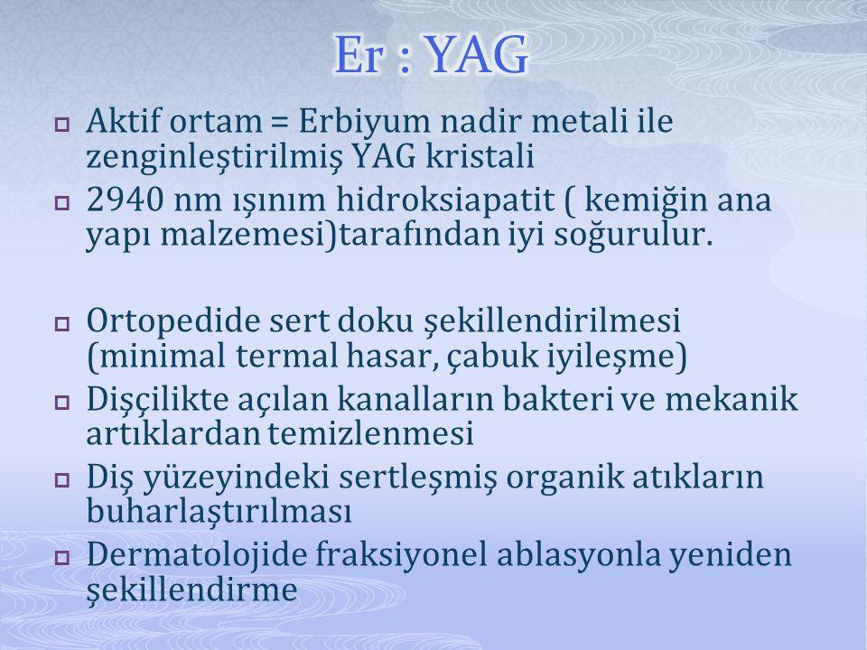Er : YAG Aktif ortam = Erbiyum nadir metali ile zenginleştirilmiş YAG kristali.