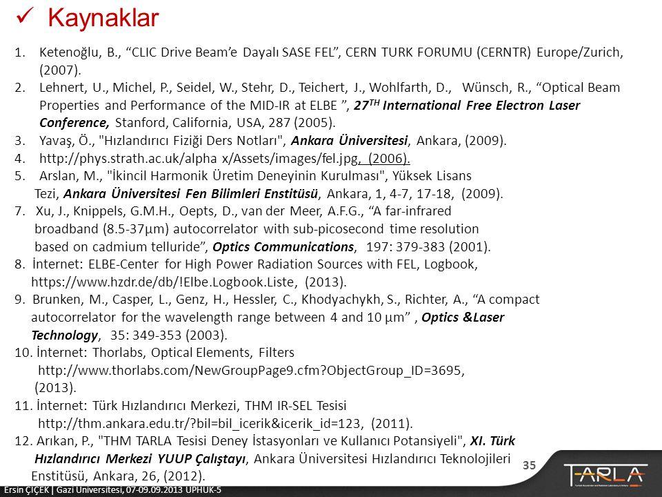 Kaynaklar Ketenoğlu, B., CLIC Drive Beam'e Dayalı SASE FEL , CERN TURK FORUMU (CERNTR) Europe/Zurich, (2007).