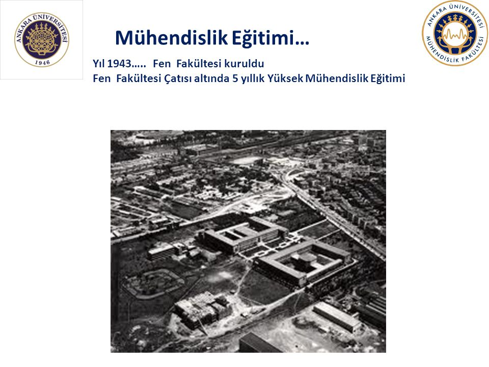 Mühendislik Eğitimi… Yıl 1943….. Fen Fakültesi kuruldu