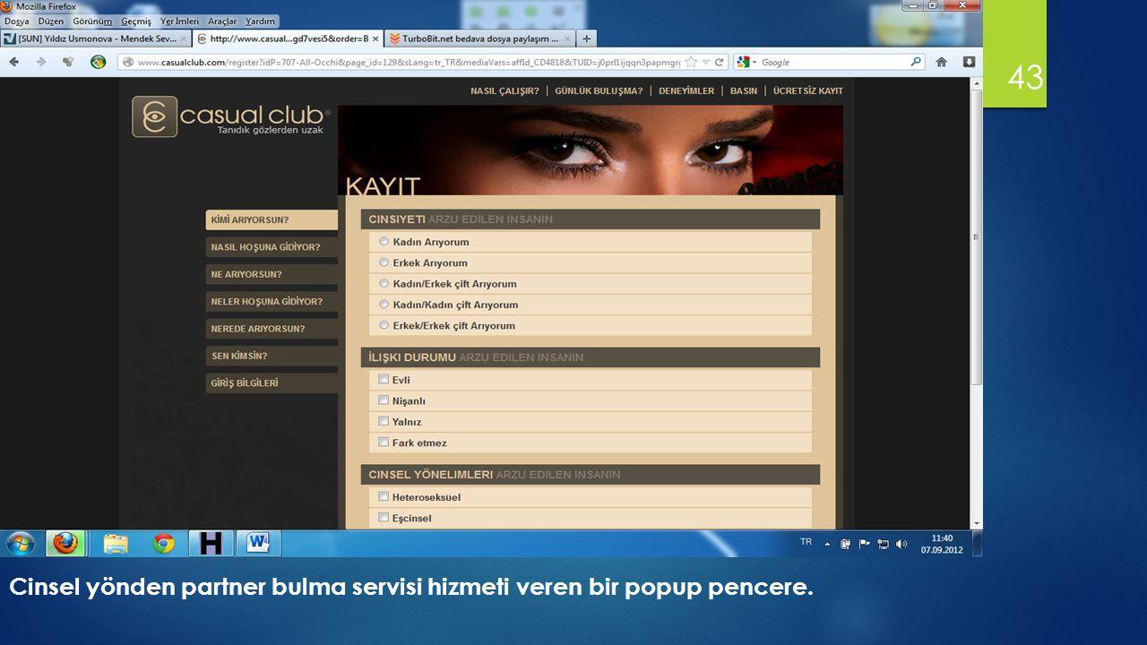 Cinsel yönden partner bulma servisi hizmeti veren bir popup pencere.
