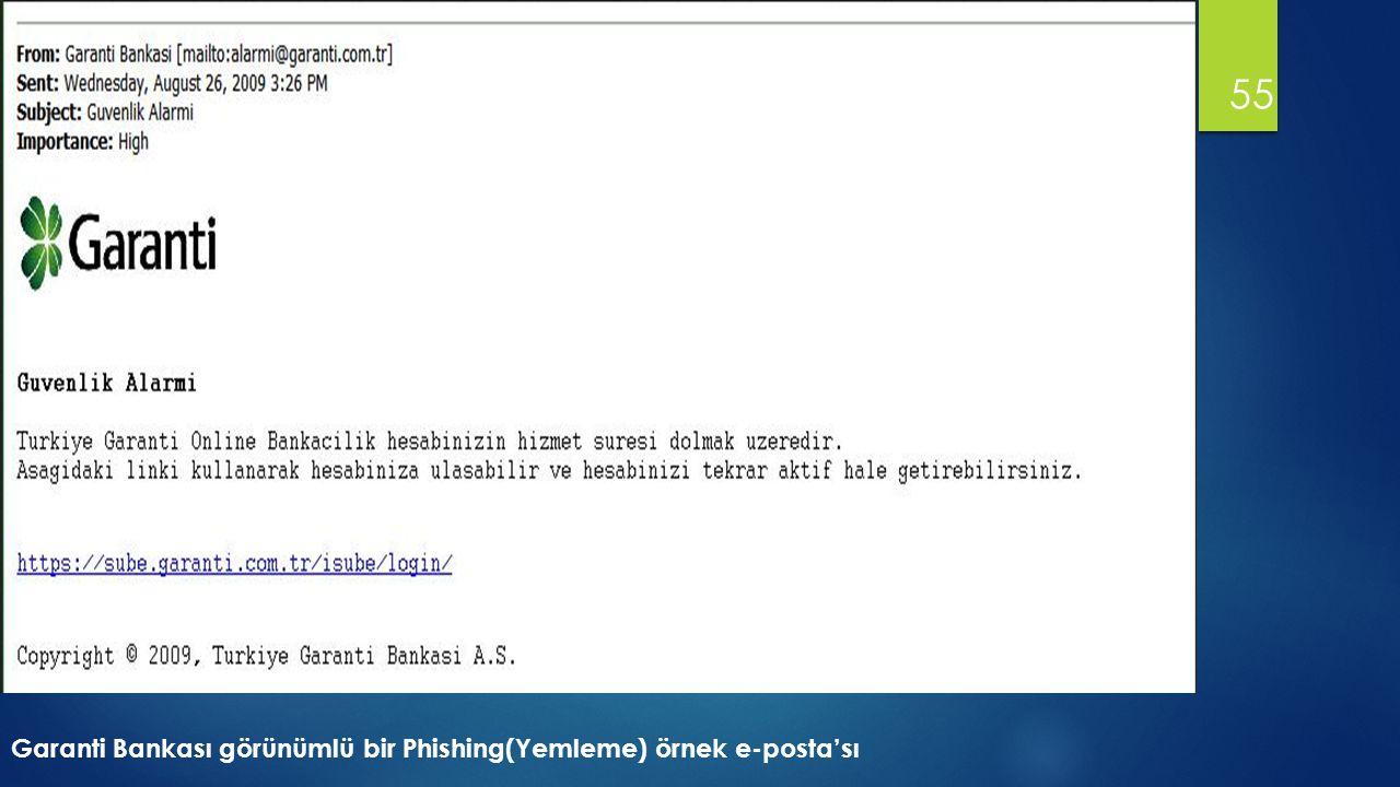 Garanti Bankası görünümlü bir Phishing(Yemleme) örnek e-posta'sı