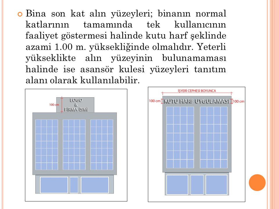 Bina son kat alın yüzeyleri; binanın normal katlarının tamamında tek kullanıcının faaliyet göstermesi halinde kutu harf şeklinde azami 1.00 m.