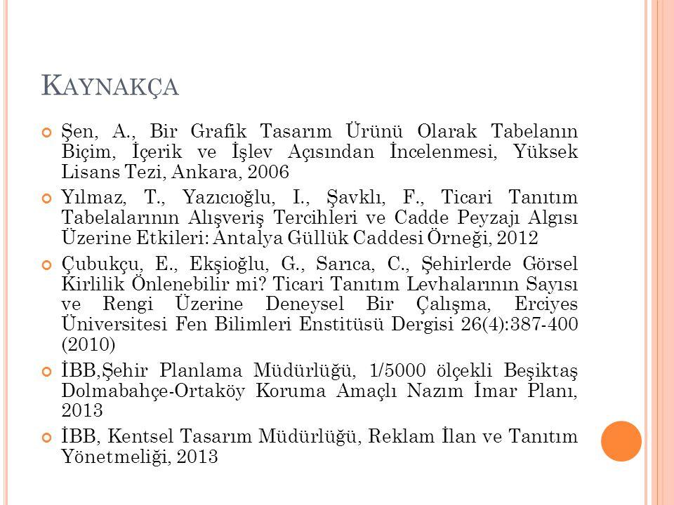 Kaynakça Şen, A., Bir Grafik Tasarım Ürünü Olarak Tabelanın Biçim, İçerik ve İşlev Açısından İncelenmesi, Yüksek Lisans Tezi, Ankara, 2006.