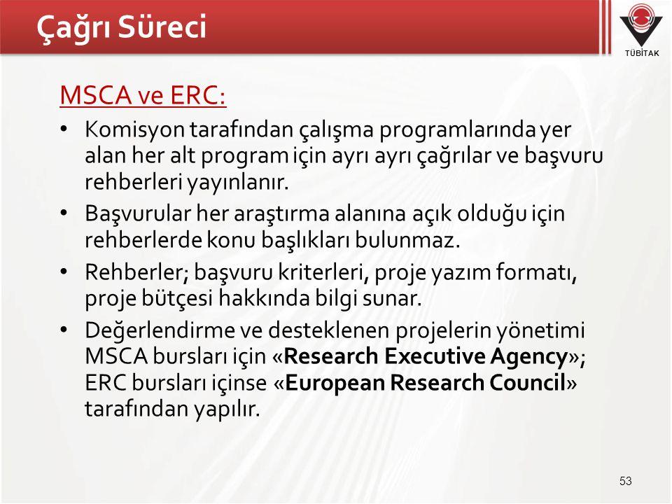 Çağrı Süreci MSCA ve ERC: