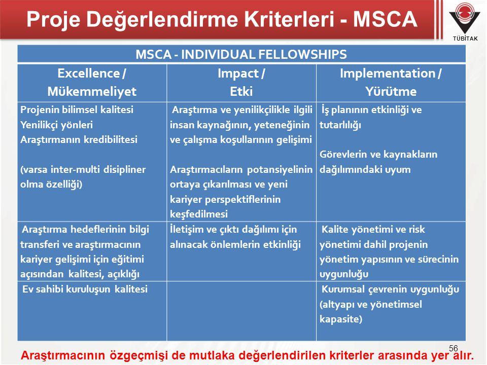 Proje Değerlendirme Kriterleri - MSCA
