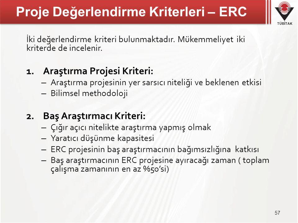 Proje Değerlendirme Kriterleri – ERC