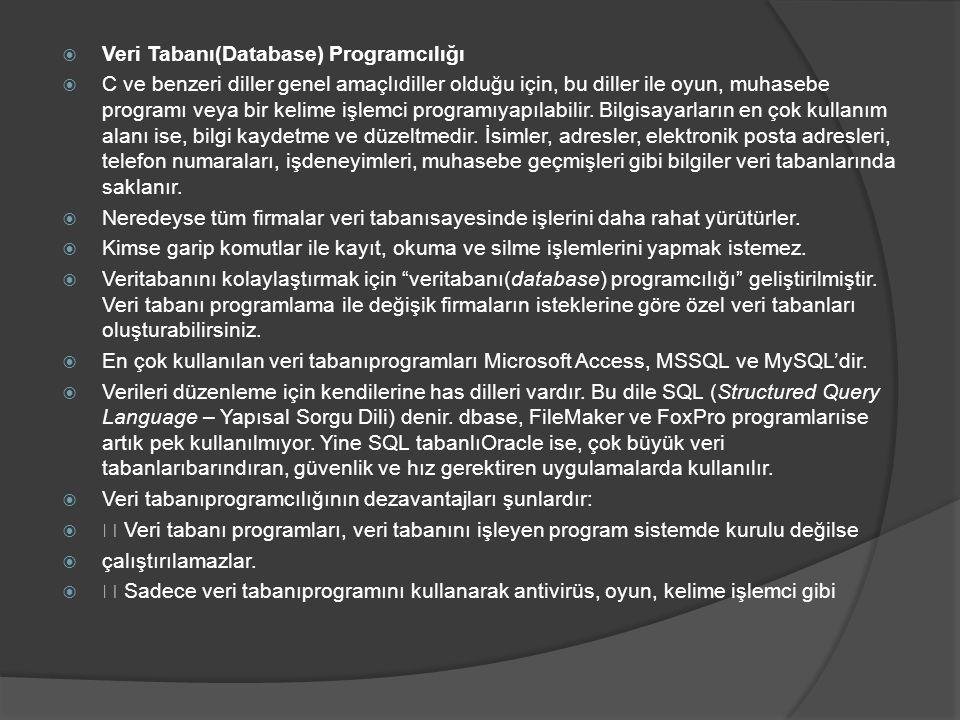Veri Tabanı(Database) Programcılığı