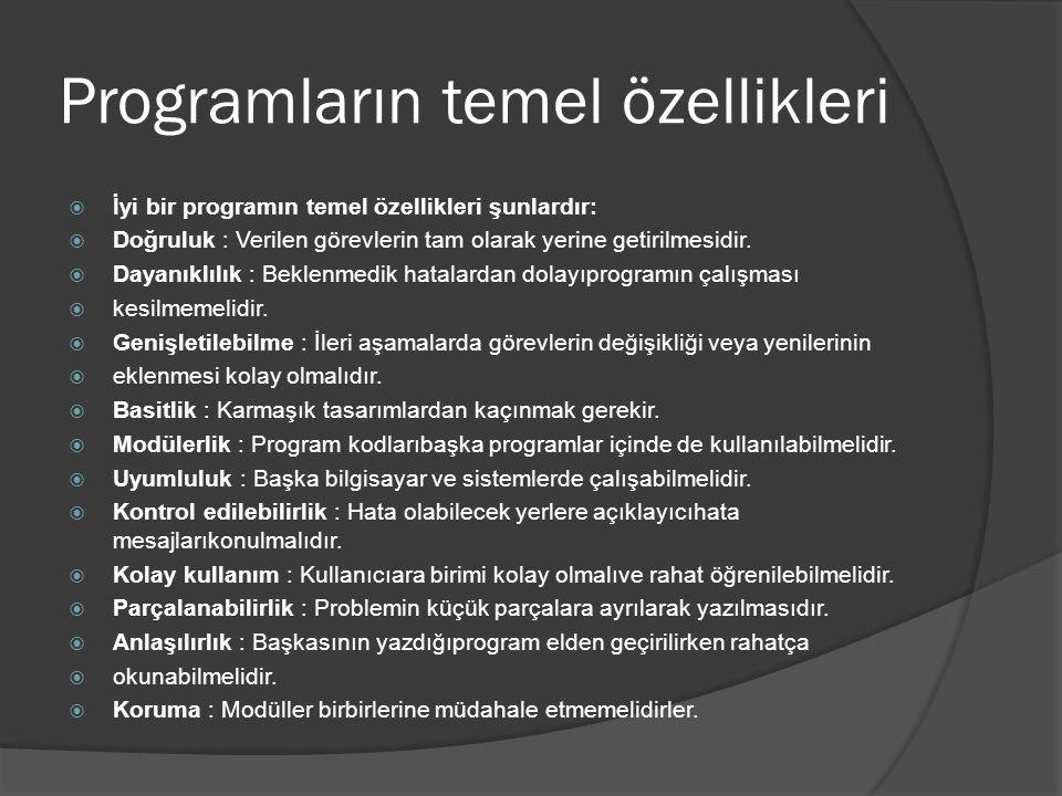 Programların temel özellikleri