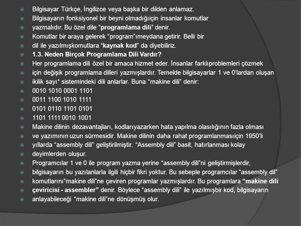 Bilgisayar Türkçe, İngilizce veya başka bir dilden anlamaz.