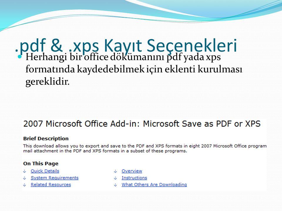 .pdf & .xps Kayıt Seçenekleri