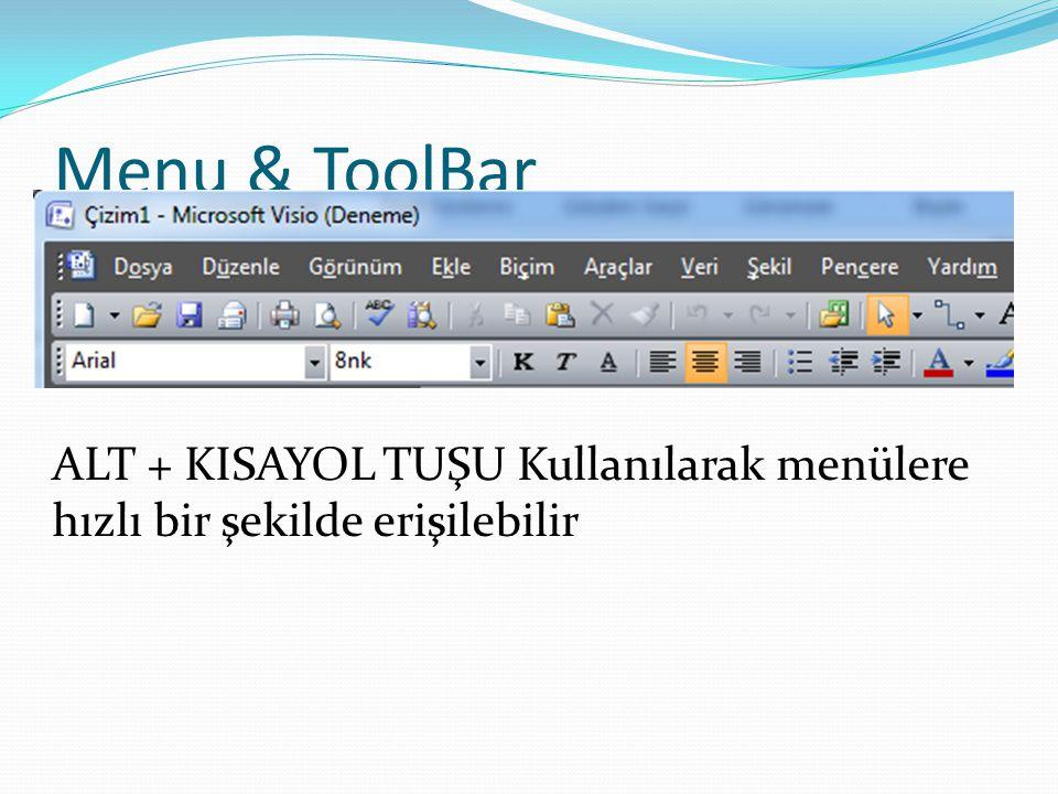 Menu & ToolBar ALT + KISAYOL TUŞU Kullanılarak menülere hızlı bir şekilde erişilebilir