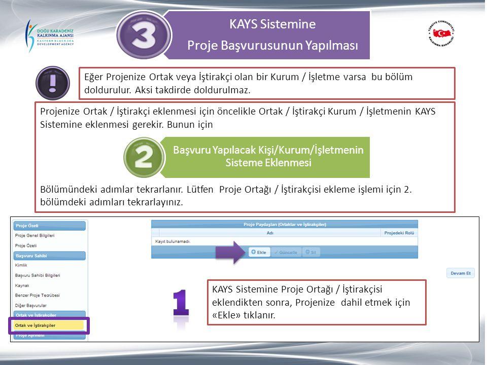 1 KAYS Sistemine Proje Başvurusunun Yapılması