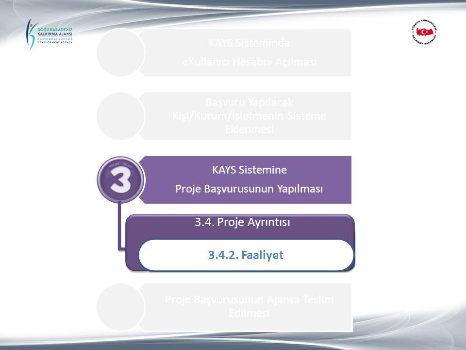 3.4. Proje Ayrıntısı 3.4.2. Faaliyet 1.Proje Özeti