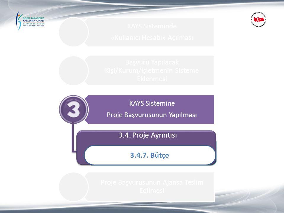 3.4. Proje Ayrıntısı 3.4.7. Bütçe 1.Proje Özeti