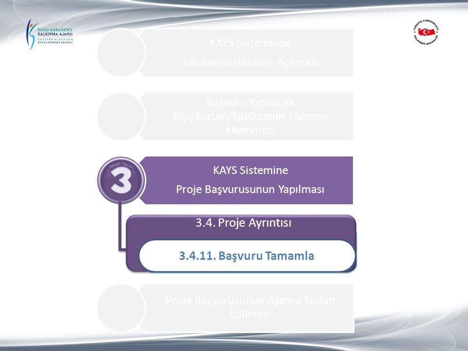 3.4. Proje Ayrıntısı 3.4.11. Başvuru Tamamla 1.Proje Özeti