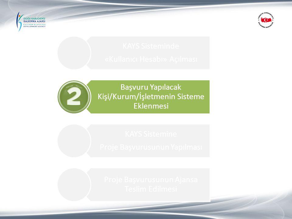 «Kullanıcı Hesabı» Açılması KAYS Sisteminde