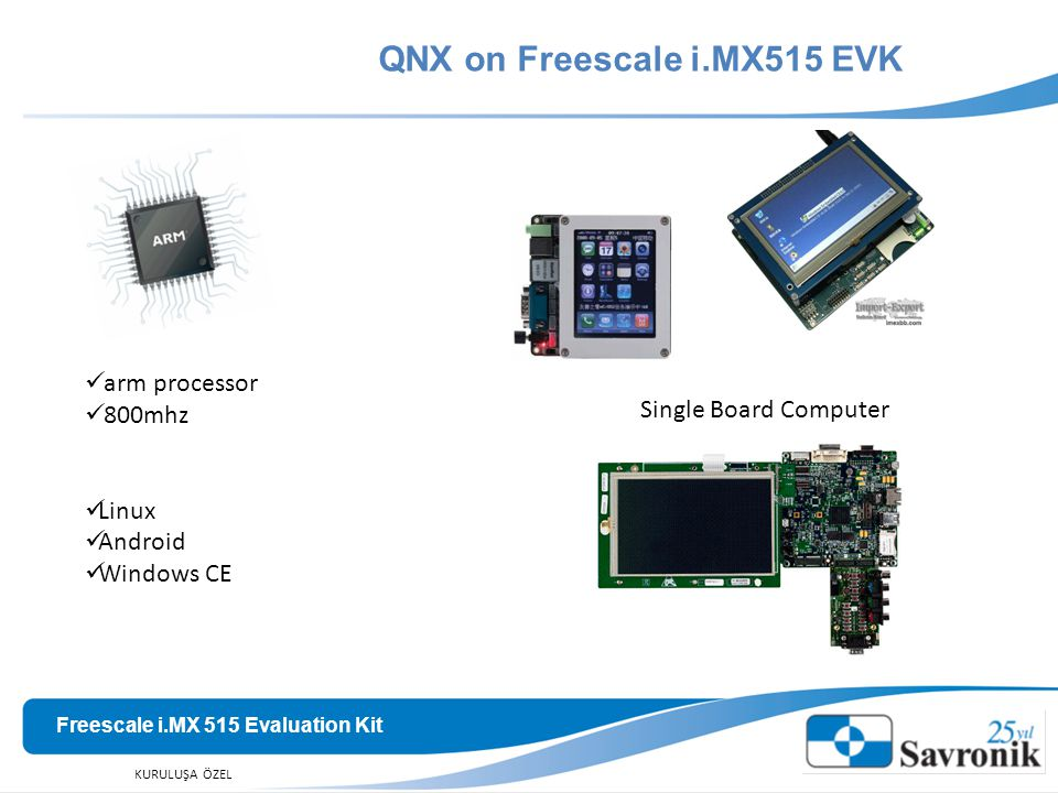 QNX on Freescale i.MX515 EVK Freescale i.MX 515 Evaluation Kit