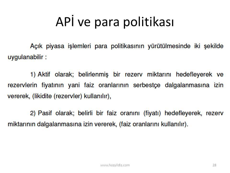 APİ ve para politikası www.hozyildiz.com