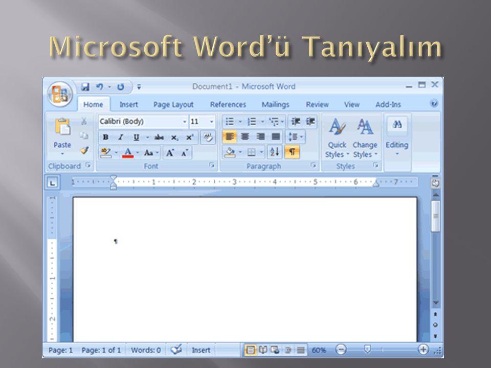 Microsoft Word'ü Tanıyalım