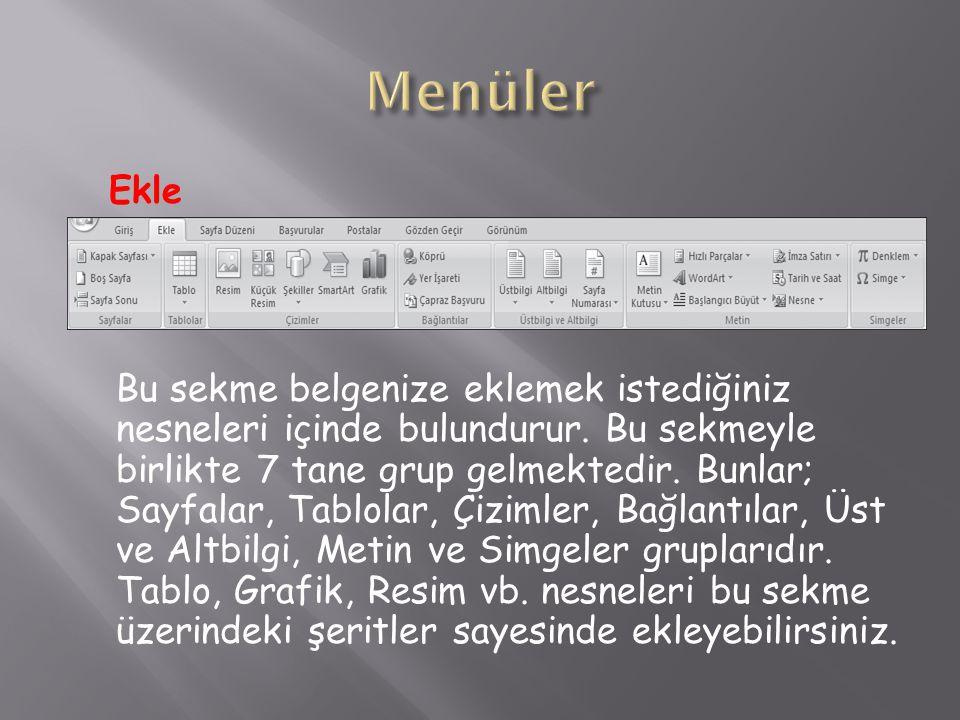 Menüler Ekle.