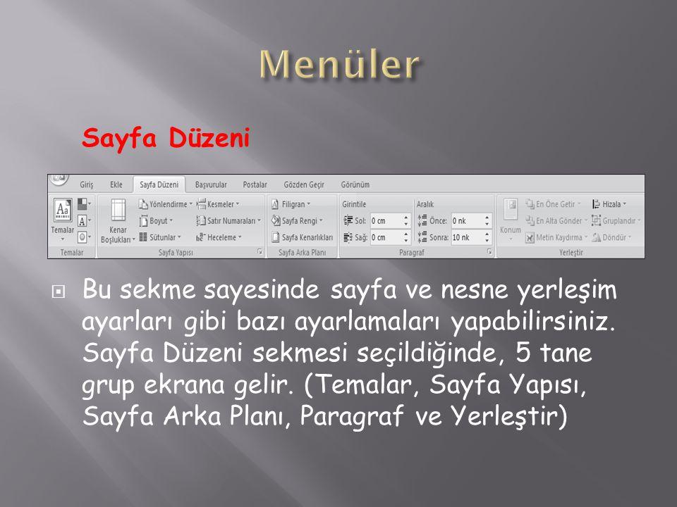 Menüler Sayfa Düzeni.