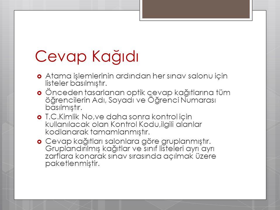Cevap Kağıdı Atama işlemlerinin ardından her sınav salonu için listeler basılmıştır.