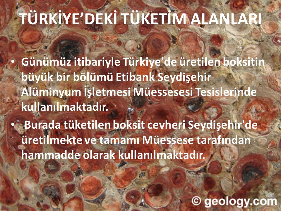 TÜRKİYE'DEKİ TÜKETİM ALANLARI