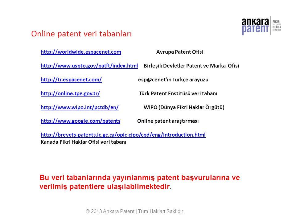 Online patent veri tabanları