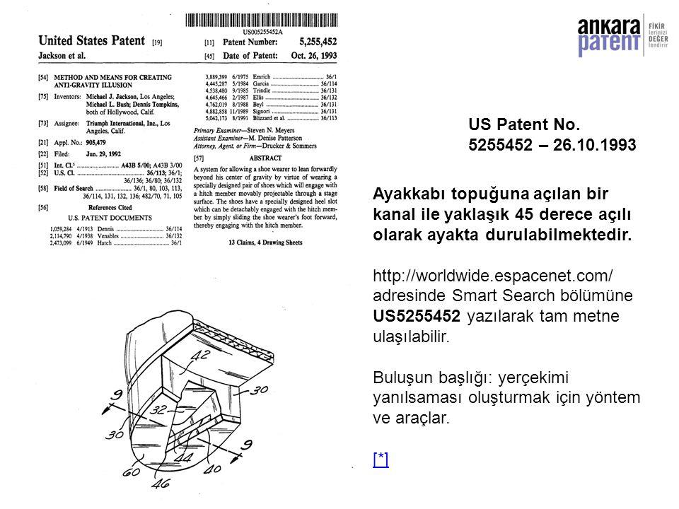 US Patent No. 5255452 – 26.10.1993 Ayakkabı topuğuna açılan bir. kanal ile yaklaşık 45 derece açılı olarak ayakta durulabilmektedir.