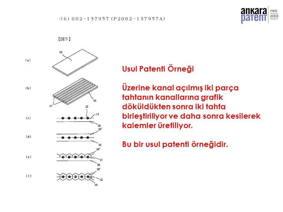 Usul Patenti Örneği Üzerine kanal açılmış iki parça. tahtanın kanallarına grafik. döküldükten sonra iki tahta.